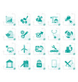 stylized internet and website portal icons vector image vector image