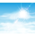 Sun is shining behind the clouds vector image vector image