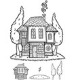 traditional bulgarian house line art vector image