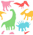 trendy collection with colorful dinosaurs pattern vector image vector image
