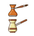 turkish coffee pot and arabic cezve icons vector image vector image