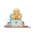woman using laptop vector image vector image
