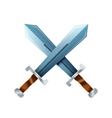 Crossed swords cartoon icon on white vector image