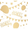 Happy Birthday Background with Balloons Flags and vector image