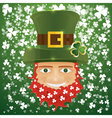 Portrait of Leprechaun Irish man with clover leaf vector image