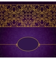 Abstract gold and violet invitation frame vector image vector image