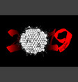 abstract number 2019 and a golf ball from blots vector image vector image