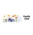 arab woman having virtual meeting with family vector image vector image