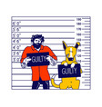 arrested man with dog characters getting front vector image