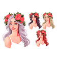 beautiful girls with flowers on their heads vector image