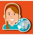 business person with planet isolated icon design vector image