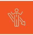Businessman with arrow down line icon vector image