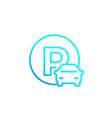 car parking roadsign line vector image vector image