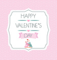 Card for Valentines Day Birds Ribbon Typography vector image