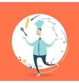 Chefcook juggles utensils vector image