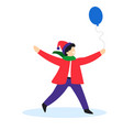 child holding balloon christmas or birthday party vector image