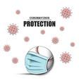 coronavirus sign and baseball ball with mask