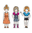 cute little girls standing in stylish casual vector image