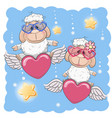 cute lovers sheep vector image vector image