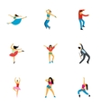 Dancing people icons set flat style vector image