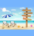 direction wood board sign on sea sand beach vector image vector image