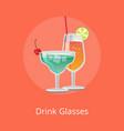 drink glasses martini lemonade alcohol cocktails vector image vector image