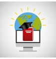 education online global cap graduation book vector image vector image