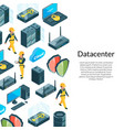 electronic system of data center icons with vector image