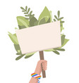 flat pacifist hand with banner green leaves vector image vector image