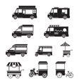 Food Vehicles Truck Van Pushcart Mono Set vector image vector image