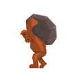 funny bigfoot carrying heavy stone on his back vector image vector image