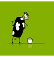 Funny bull with buckets of milk sketch vector image vector image