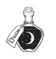 hand drawn dream in bottle with moon and stars vector image vector image
