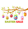 happy easter hanging eggs sale on a tree vector image