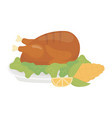 happy thanksgiving day baked turkey corn and lemon vector image vector image