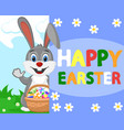 hare with easter eggs waving his paw from behind vector image
