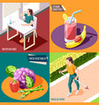 healthy lifestyle 2x2 design concept vector image