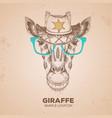 hipster animal giraffe hand drawing muzzle vector image vector image