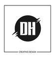 initial letter dh logo template design vector image