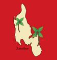 map of zanzibar with palms vector image