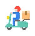 messenger sending parcel box by motorbike flat vector image