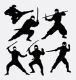 Ninja japanese warrior silhouettes vector image vector image
