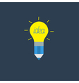 Pencil with yellow shining light bulb lamp Idea vector image