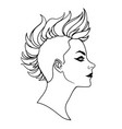 punk girl with mohawk haircut vector image vector image