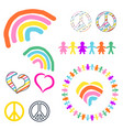 rainbow and peace symbols hippie pacifist vector image