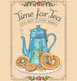 retro time for tea with teapot and bakery vector image vector image