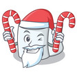 santa with candy tissue character cartoon style vector image vector image