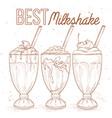 Scetch set milkshakes vector image vector image