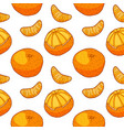 seamless pattern with tangerine and slices hand vector image vector image