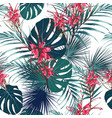 seamless tropical flower pattern background vector image vector image